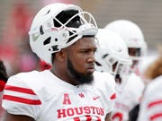 Houston Cougars defensive tackle Ed Oliver during warm ups before the start of a game against the Rice Owls Saturday, Sep. 1, 2018, in Houston. (AP Photo/Michael Wyke)