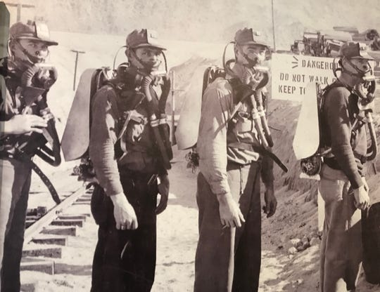 """A photo of the muckers, drillers and blasters who worked on the Colorado River Aqueduct, also known as the Metropolitan Water District Aqueduct -- a 242-mile pipeline bringing water from the Colorado River to much of Southern California -- is part of the """"Postcards from Mecca"""" exhibit of photos by Susie Keef Smith and Lula Mae Graves at the La Quinta Museum."""