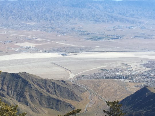 Silt in the Whitewater Wash is visible in this photo taken from the Palm Springs Aerial Tramway's mountain station. City staff says the silt is causing occasional closures on Indian Canyon Drive.