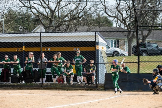 The Fairfield dugout cheers on Madison Cromwell during an at-bat in a YAIAA regular-season softball game against Littlestown on Tuesday, April 9, 2019. The Lady Knights won 9-5.