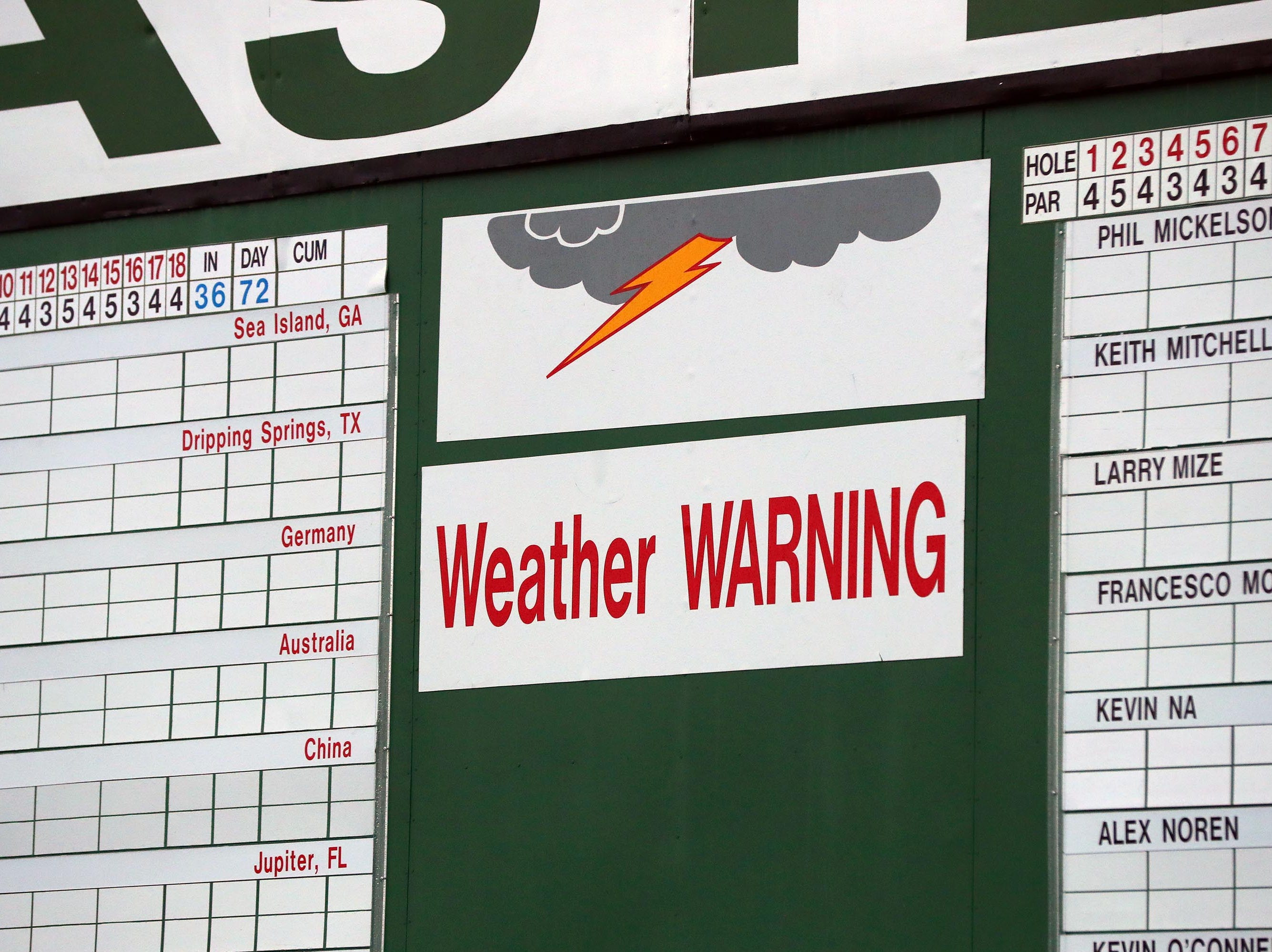 Apr 9, 2019; Augusta, GA, USA; Scoreboard at the first hole under a weather warning with rain and the threat of thunderstorms during a practice round for The Masters golf tournament at Augusta National Golf Club. Mandatory Credit: Rob Schumacher-USA TODAY Sports