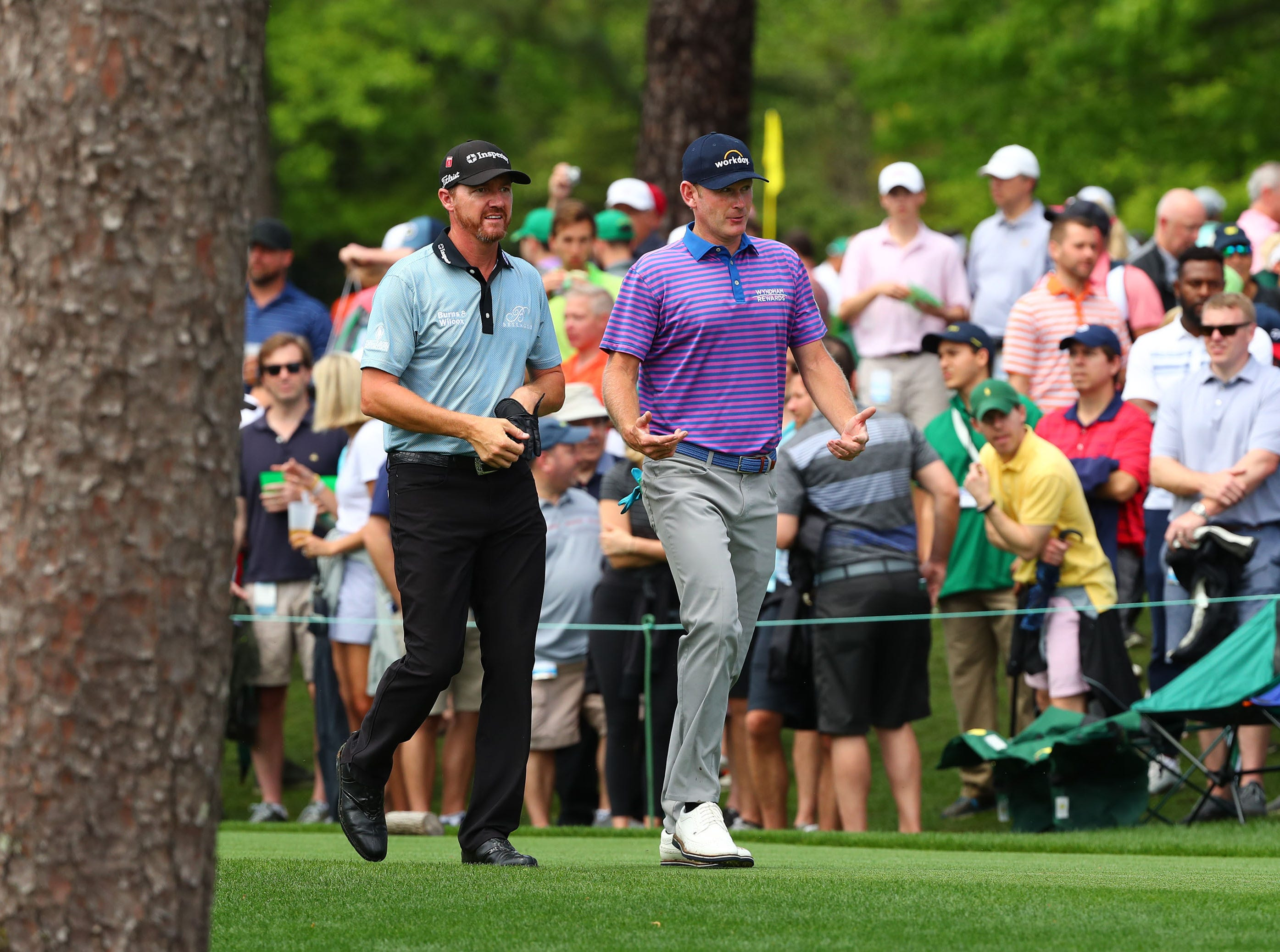 Apr 9, 2019; Augusta, GA, USA; Jimmy Walker and Brandt Snedeker walk off the tee box on the 17th hole during a practice round for The Masters golf tournament at Augusta National Golf Club. Mandatory Credit: Rob Schumacher-USA TODAY Sports