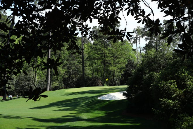 Apr 9, 2019; Augusta, GA, USA; The 10th hole during a practice round for The Masters golf tournament at Augusta National Golf Club. Mandatory Credit: Rob Schumacher-USA TODAY Sports