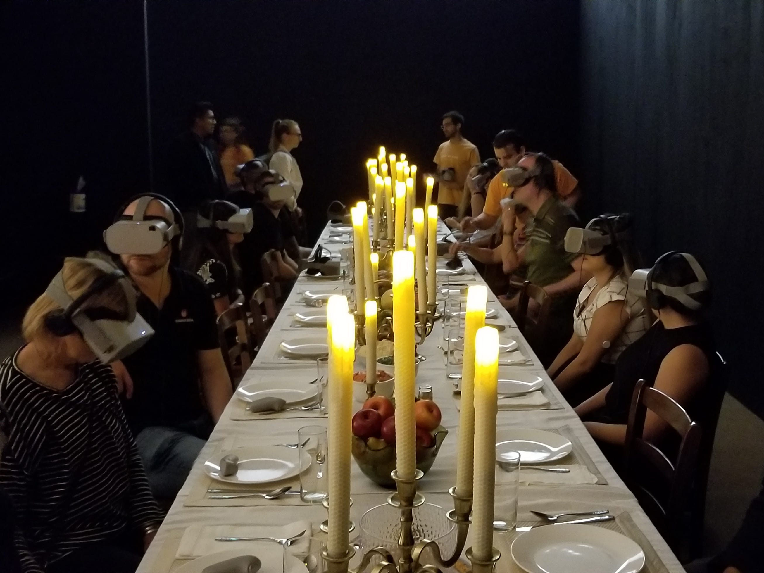 """""""Dinner Party"""" is a virtual reality film by Angel Soto, Laura Wexler and Charlotte Stoudt about the couple who reported the first UFO abduction case in America.  The artwork is part of Wonderspaces Arizona, an immersive art show open April through mid-July 2019 at Scottsdale Fashion Square."""