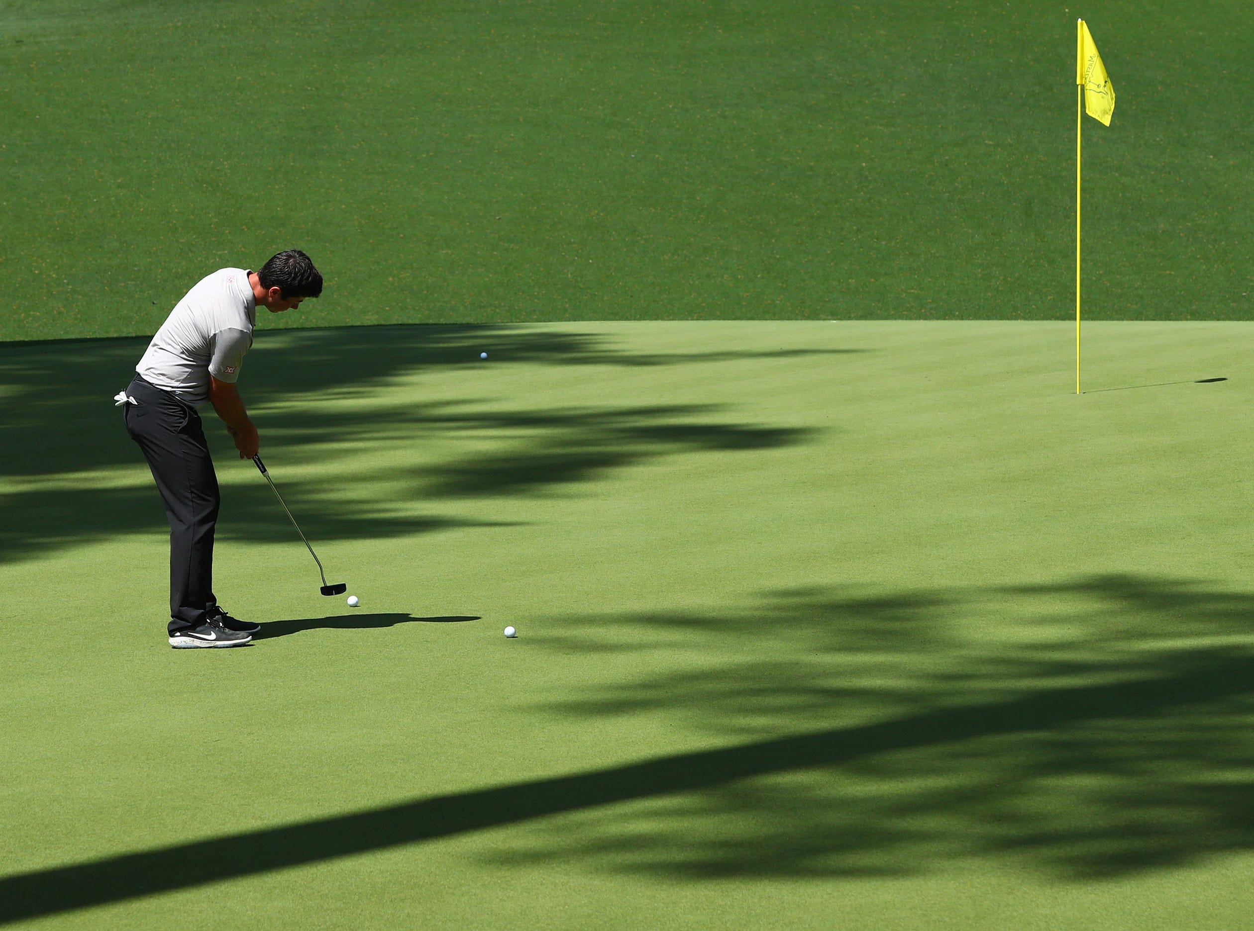 Apr 9, 2019; Augusta, GA, USA; Viktor Hovland putts on the 10th green during a practice round for The Masters golf tournament at Augusta National Golf Club. Mandatory Credit: Rob Schumacher-USA TODAY Sports