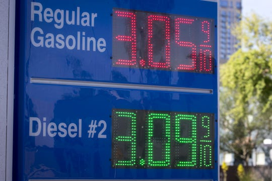 Gas prices displayed in Phoenix on April 9, 2019.