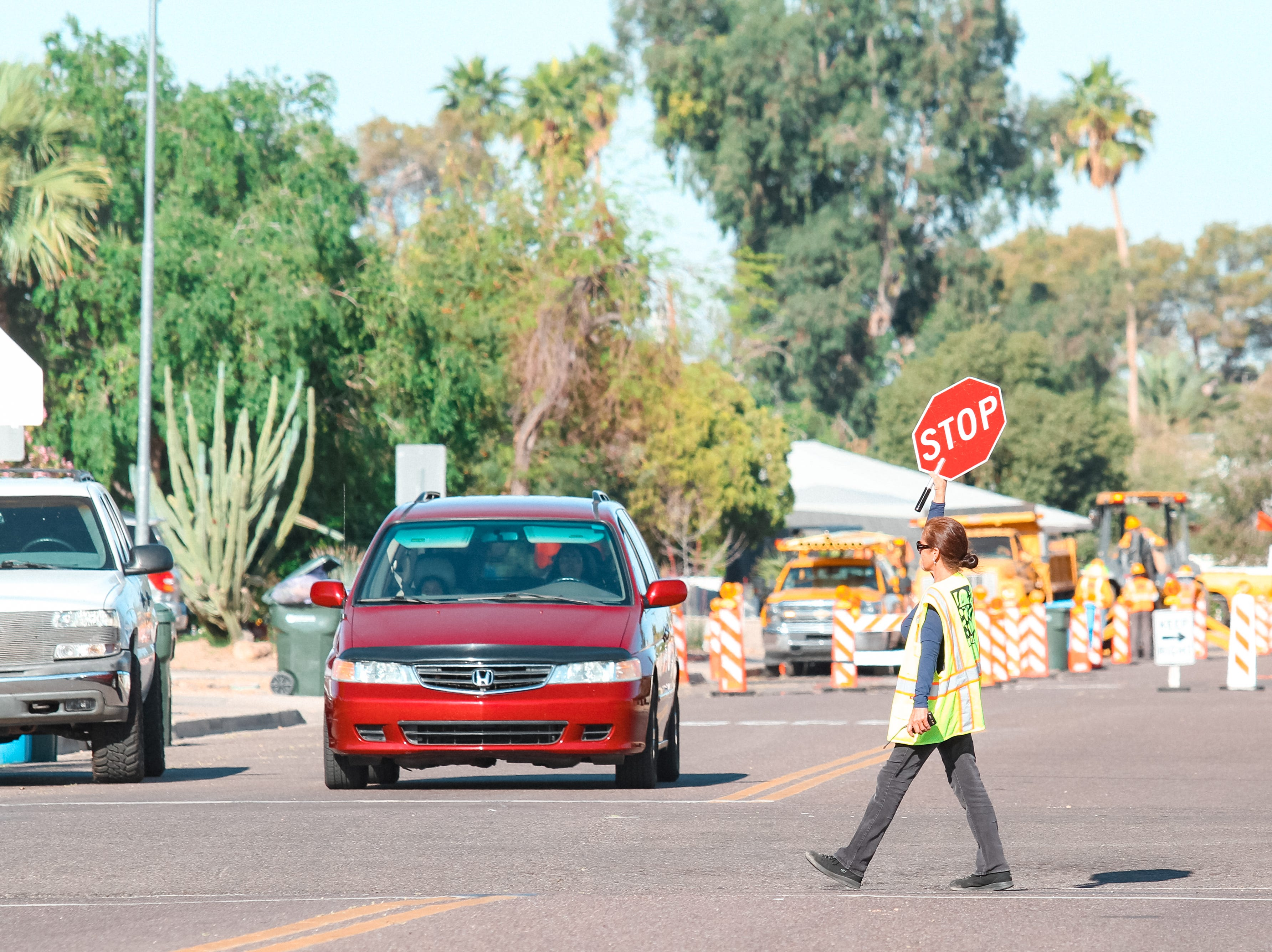 Children walk to school at Village Meadows Elementary School on April 9, 2019 days after an attempted kidnapping near the school in north Phoenix.