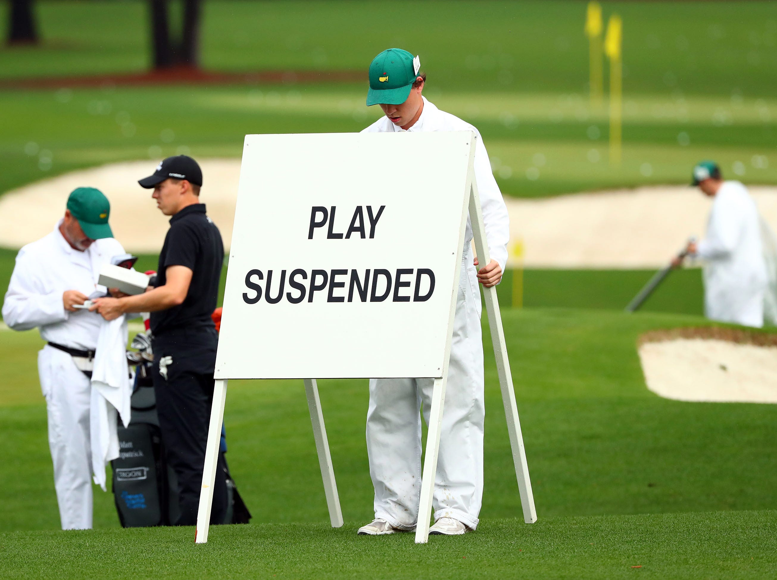 Apr 9, 2019; Augusta, GA, USA; Matthew Fitzpatrick of England prepares to leave the practice facility after play was suspended at 10:00 AM EST, as thunderstorms travel towards the course during a practice round for The Masters golf tournament at Augusta National Golf Club. Mandatory Credit: Rob Schumacher-USA TODAY Sports
