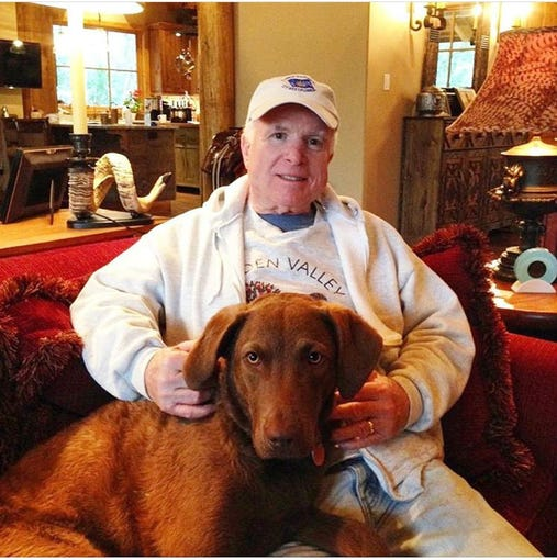 Meghan McCain posted this photo of her father, John McCain, and his dog Burma on Instagram on April 8, 2019.