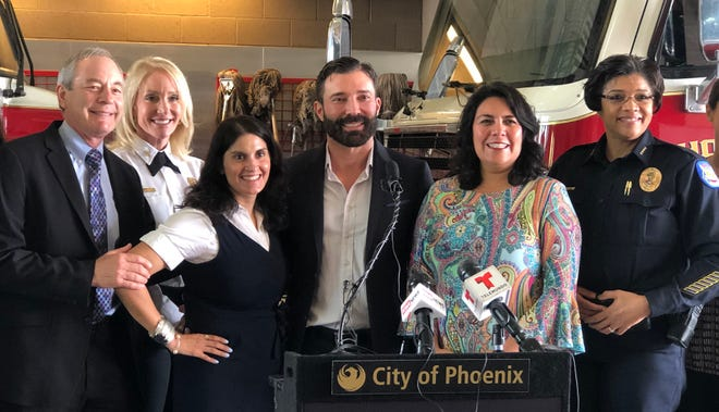 Announcing the screening results were (from left) Dr. Larry Bans, Phoenix Fire Chief Kara Kalkbrenner, Dr. Vershalee Shukla, Dr. Pablo Prichard, Phoenix councilwoman Laura Pastor and Phoenix Police Chief Jeri Williams.