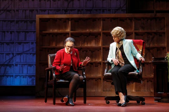 """Eileen T'Kaye (left) as Ruth Bader Ginsburg and Laura Wernette as Sandra Day O'Connor in the Phoenix Theatre Company's world-premiere production of """"Sisters in Law."""""""