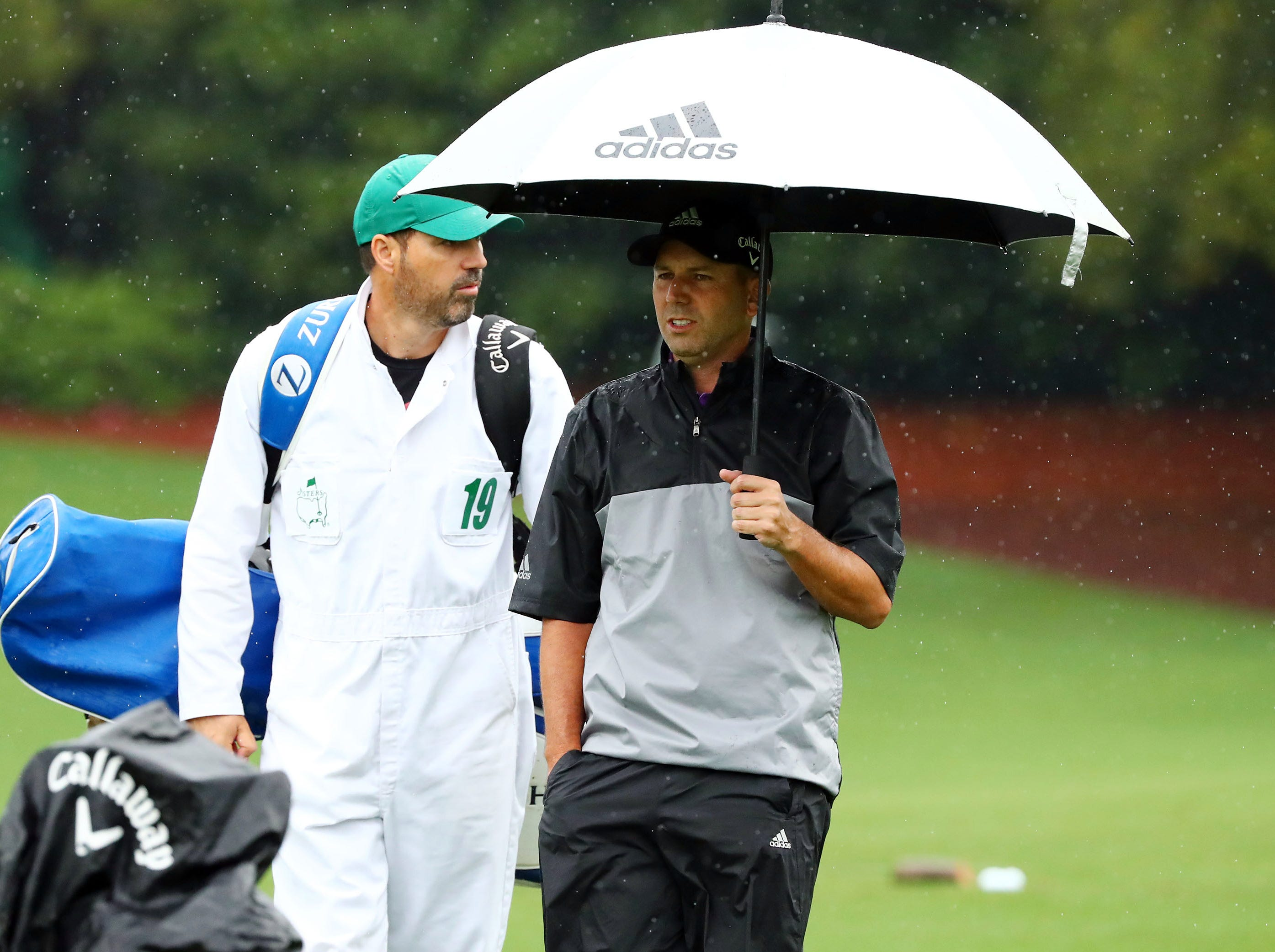 Apr 9, 2019; Augusta, GA, USA; Sergio Garcia of Spain arrives at the practice facility during a practice round for The Masters golf tournament at Augusta National Golf Club. Mandatory Credit: Rob Schumacher-USA TODAY Sports