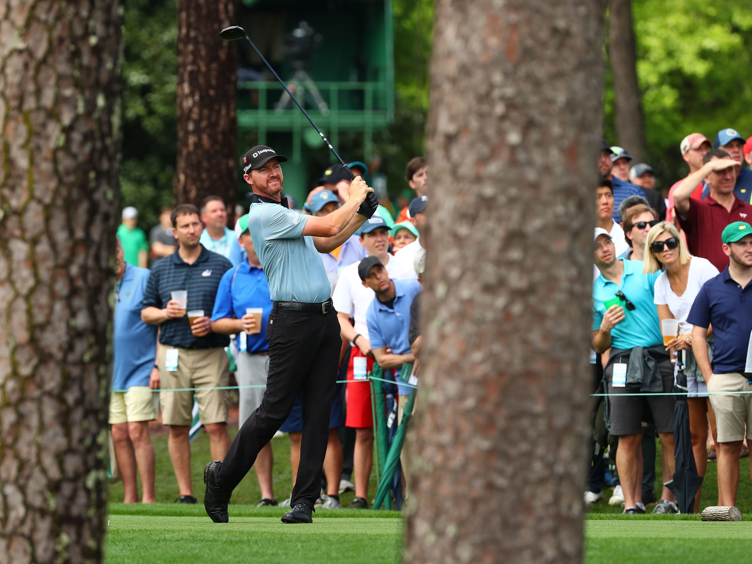 Apr 9, 2019; Augusta, GA, USA; Jimmy Walker hits his drive on the 17th hole during a practice round for The Masters golf tournament at Augusta National Golf Club. Mandatory Credit: Rob Schumacher-USA TODAY Sports