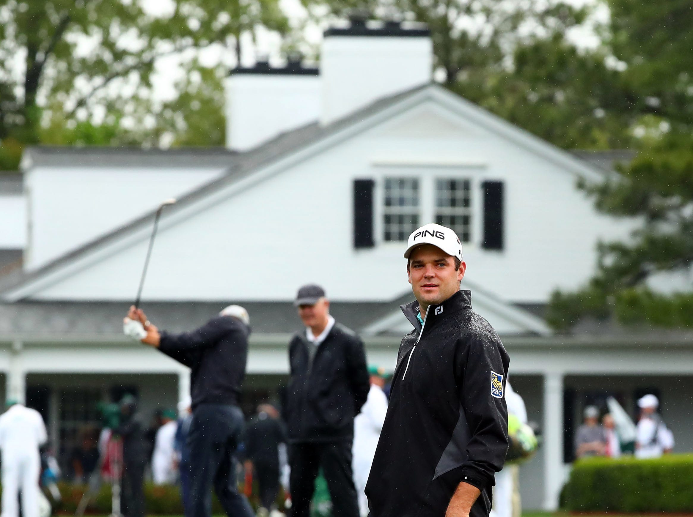 Apr 9, 2019; Augusta, GA, USA; Corey Conners at the practice facility during a practice round for The Masters golf tournament at Augusta National Golf Club. Mandatory Credit: Rob Schumacher-USA TODAY Sports