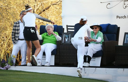 Nelly Korda and playing partner Jin Young Ko of South Korea, right, greet LPGA Founders Marilynn Smith and Shirley Spork after finishing their final round at the Bank of Hope Founders Cup on March 24.
