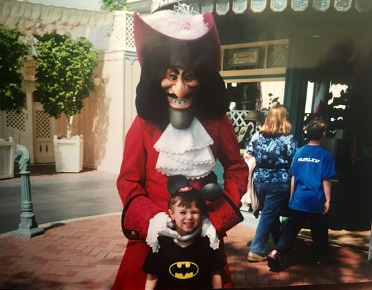 Sawyer at Disneyland with Captain Hook.