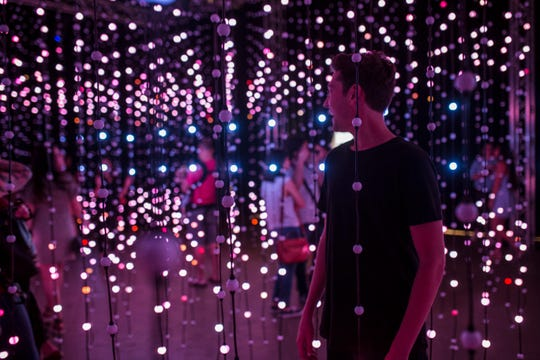 """Submergence"" by Squidsoup is composed of 8,064 individual points of light that continually change colors in correspondence to music."