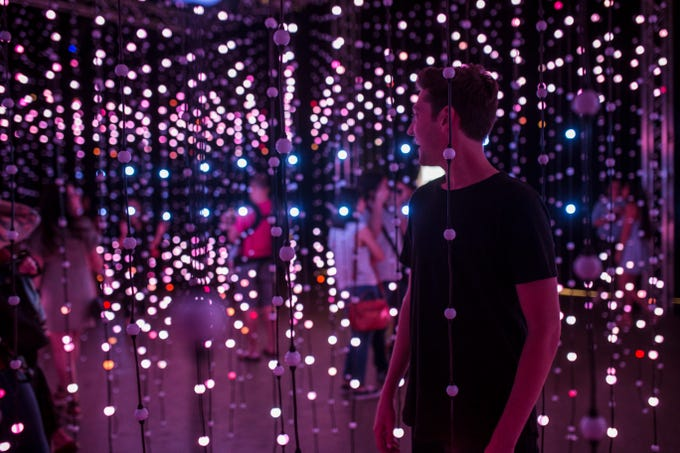 """Submergence"" by Squidsoup is composed of 8,064 individual points of light that continually change colors in correspondence to music. The artwork is part of Wonderspaces Arizona, an immersive art show open April through mid-July 2019 at Scottsdale Fashion Square."