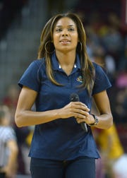 Nov 25, 2013; Los Angeles, CA, USA; Los Angeles Sparks guard Lindsey Harding attends the NCAA womens basketball game between the South Carolina Gamecocks and the Southern California Trojans at Galen Center. Mandatory Credit: Kirby Lee-USA TODAY Sports