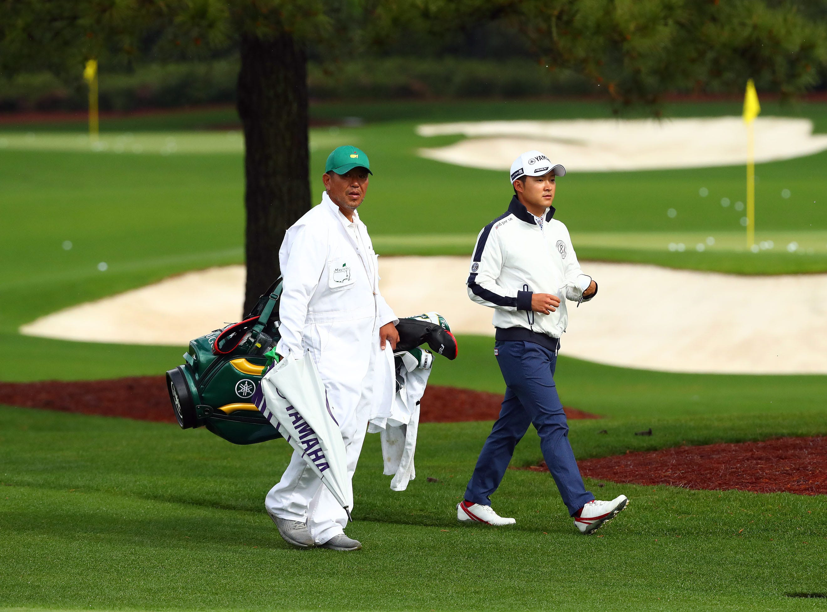 Apr 9, 2019; Augusta, GA, USA; Shugo Imahira of Japan at the practice facility during a practice round for The Masters golf tournament at Augusta National Golf Club. Mandatory Credit: Rob Schumacher-USA TODAY Sports