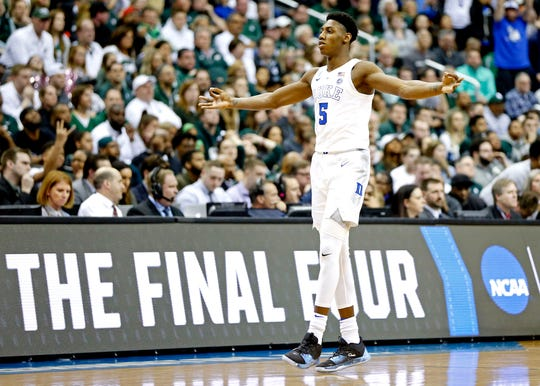 Mar 31, 2019; Washington, DC, USA; Duke Blue Devils forward RJ Barrett (5) races after a basket during the first half against the Michigan State Spartans in the championship game of the east regional of the 2019 NCAA Tournament at Capital One Arena.