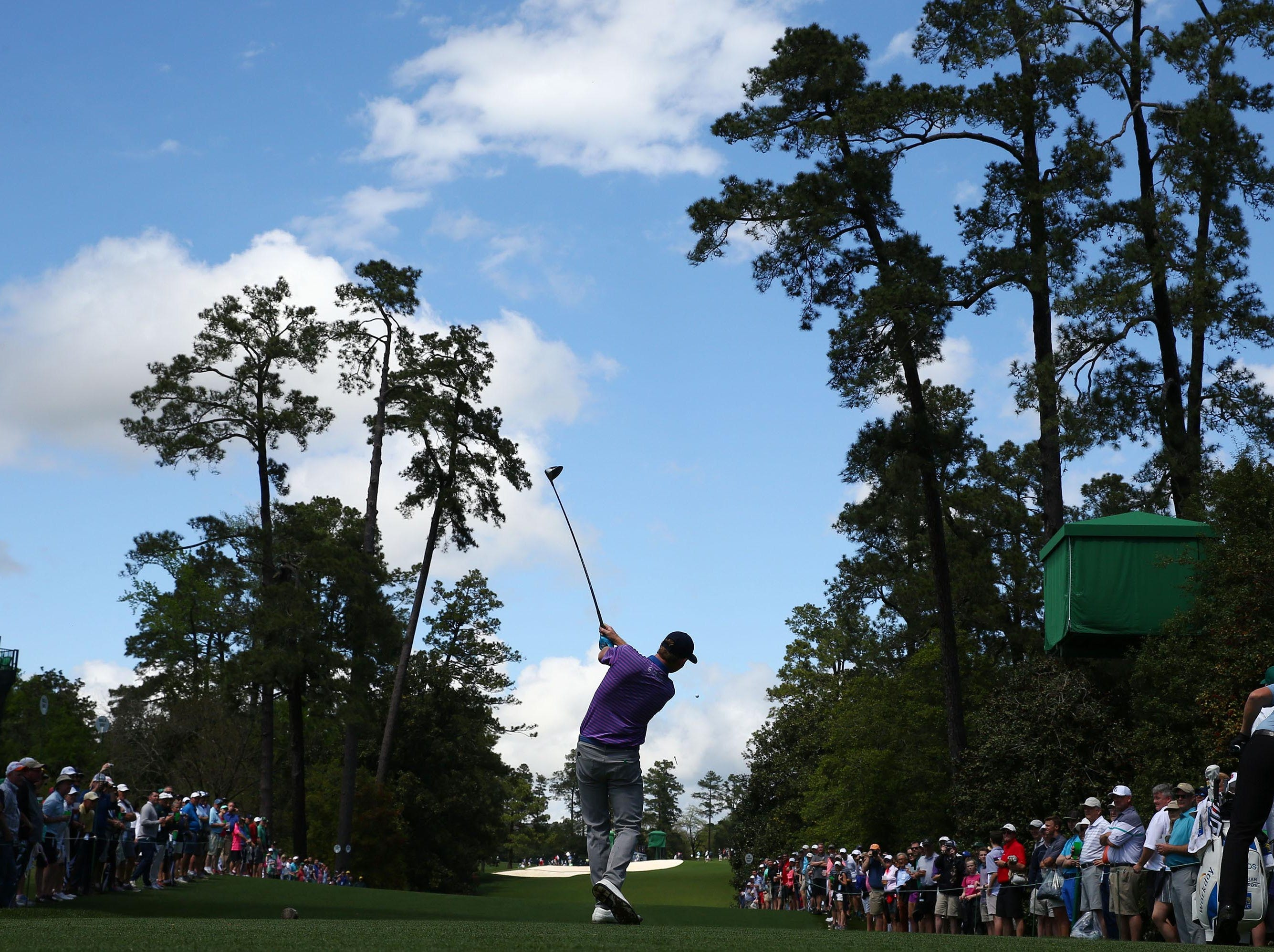 Apr 9, 2019; Augusta, GA, USA; Brandt Snedeker hits his drive on the 18th hole during a practice round for The Masters golf tournament at Augusta National Golf Club. Mandatory Credit: Rob Schumacher-USA TODAY Sports