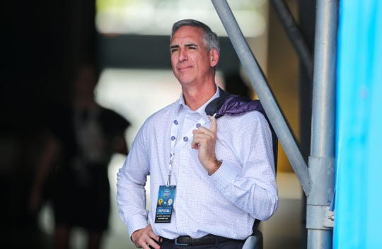 XFL chief executive officer Oliver Luck stands in a tunnel and watches the game during the first quarter at Bank of America Stadium Sept. 1, 2018.  Ben Queen-USA TODAY Sports