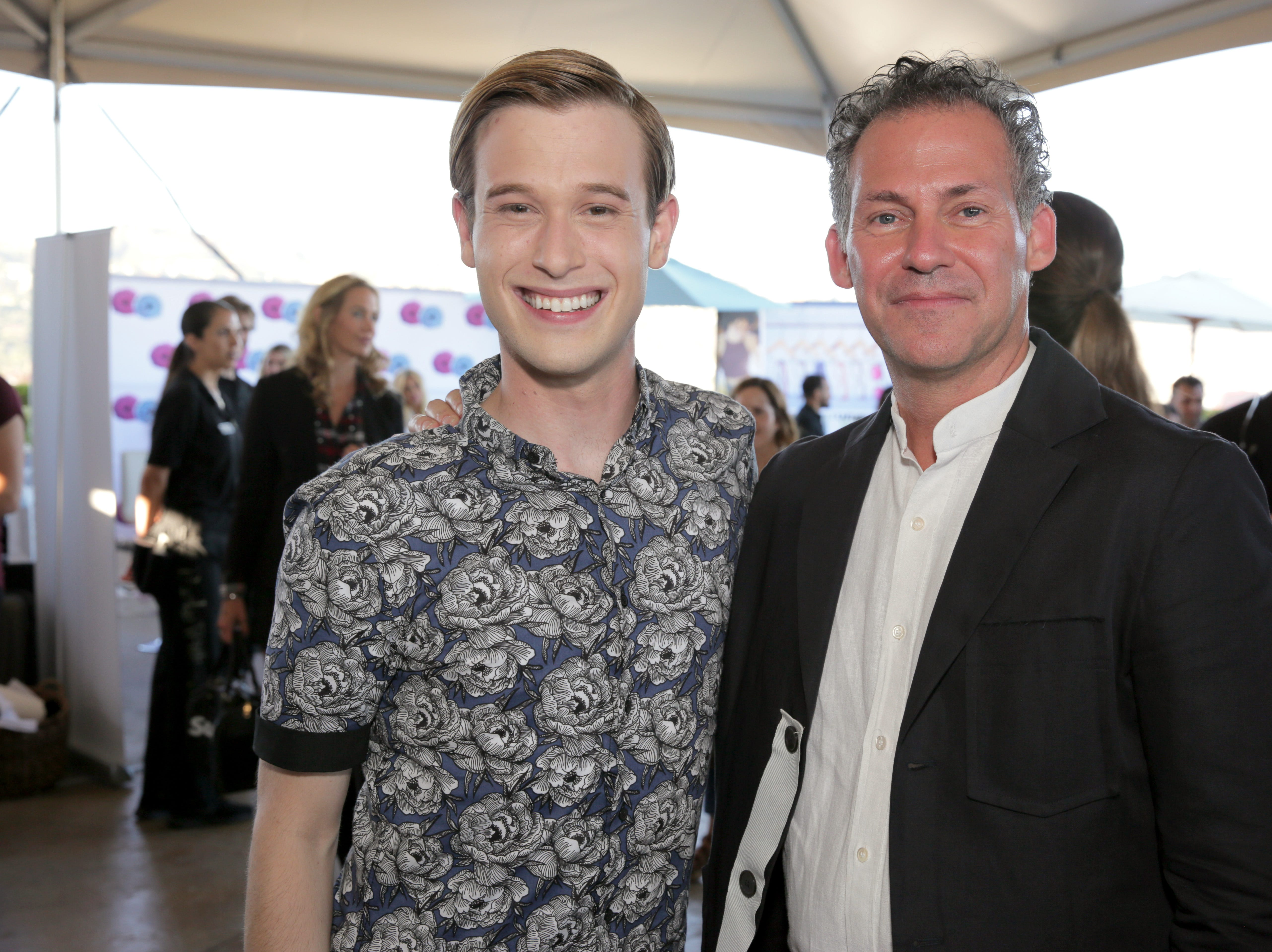 Tyler Henry (left) and Gavin Keilly of GBK attend Pilot Pen & GBK Celebration Lounge on Sept. 14, 2018, in Beverly Hills, California