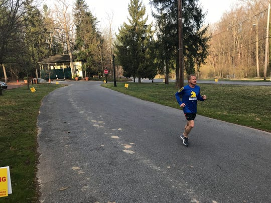 Joseph Wentzel gets in some training in preparation for Monday's Boston Marathon.