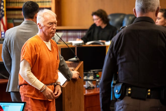 Richard Laurence Hartwick leaves the podium in St. Clair County District Judge Cynthia Platzer's courtroom after a probable cause hearing Tuesday, April 9, 2019. Hartwick, a former accountant with the Blue Water Center for Independent Living, has been charged with embezzling more than $1 million during his employment with the nonprofit.