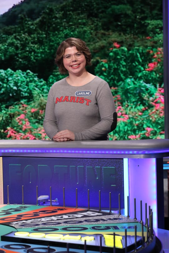 "Caroline Fiske, a Marist College student of Fairfield, Connecticut, on the set of ""Wheel of Fortune"" in February."