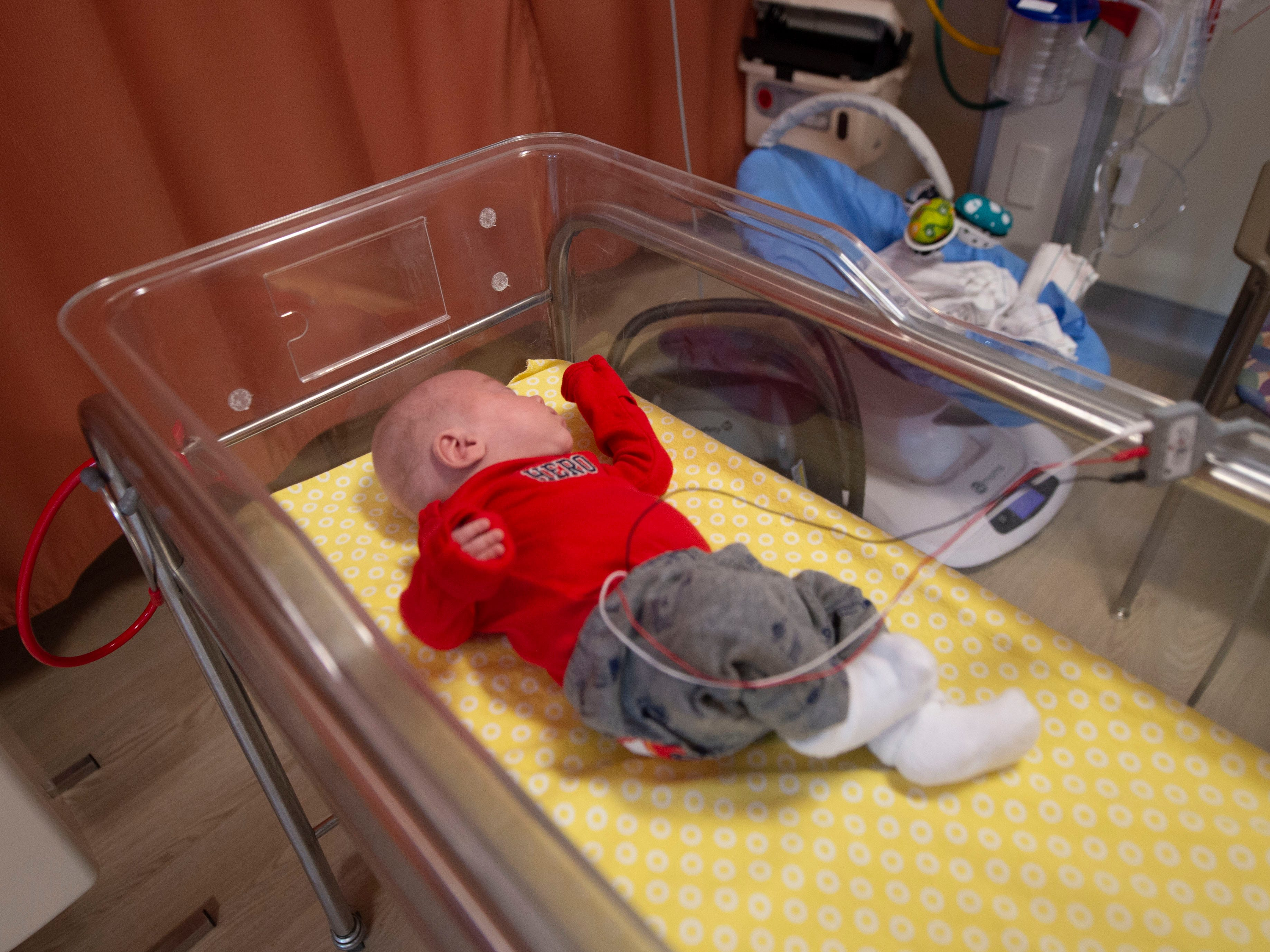 Liam McDannell in his crib inside the NICU at WellSpan York Hospital. Liam was born on New Year's Day, York County's first born child for 2019, he was only 25 weeks old. On Tuesday, April 9 he graduated from the NICU..