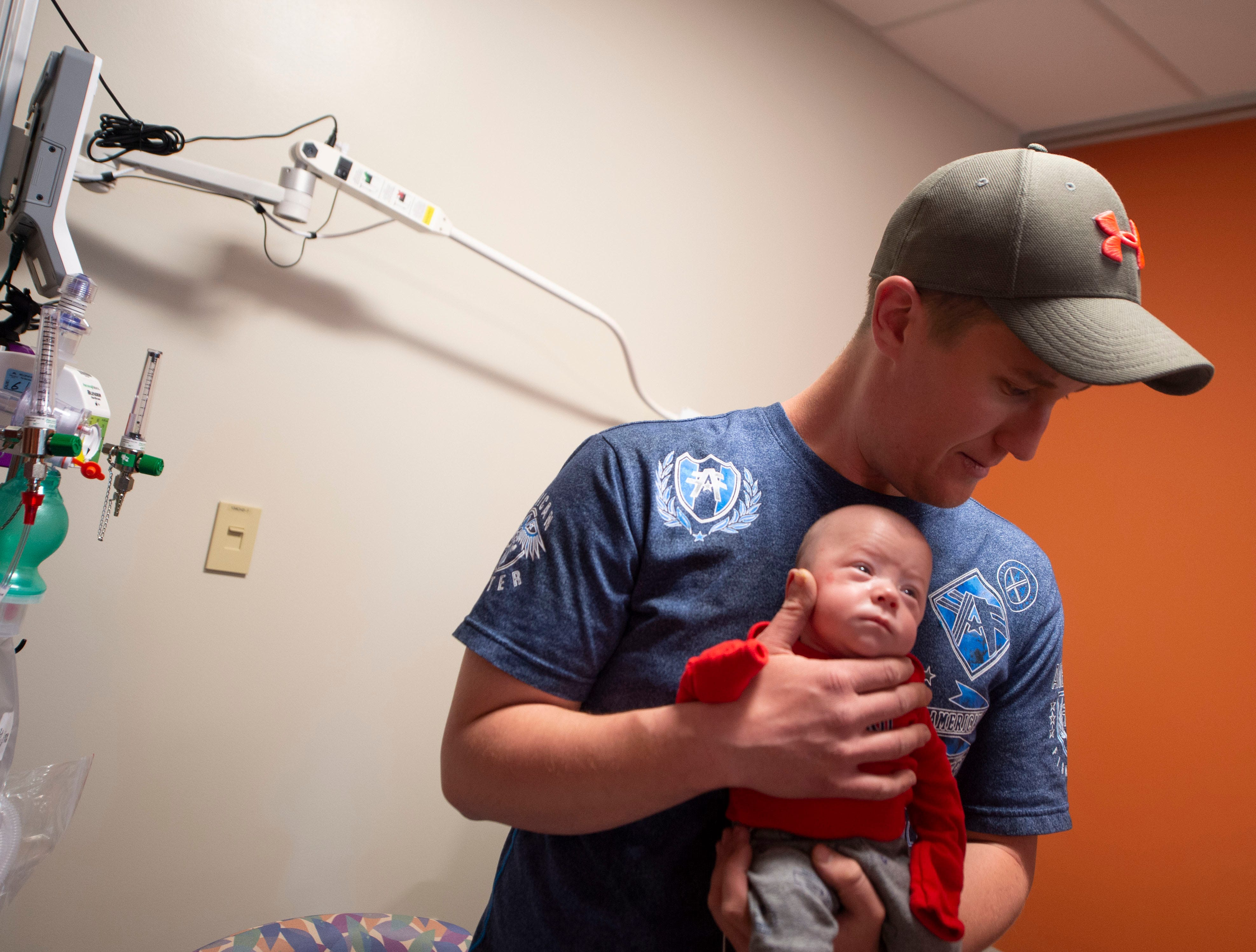Jimmy Brown holds his son Liam McDannell inside the NICU at WellSpan York Hospital. Liam was born on New Year's Day, York County's first born child for 2019. On Tuesday, April 9 he graduated from the NICU.