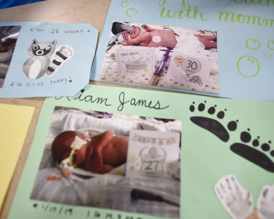 Hand-crafted milestone markers and memories of baby Liam McDannell, York County's first born child of 2019. McDannell was born prematurely, weighing only 1 pound and 10 ounces at birth. On Tuesday, April 9 he graduated from the NICU at WellSpan York Hospital weighing approximately 6 pounds.