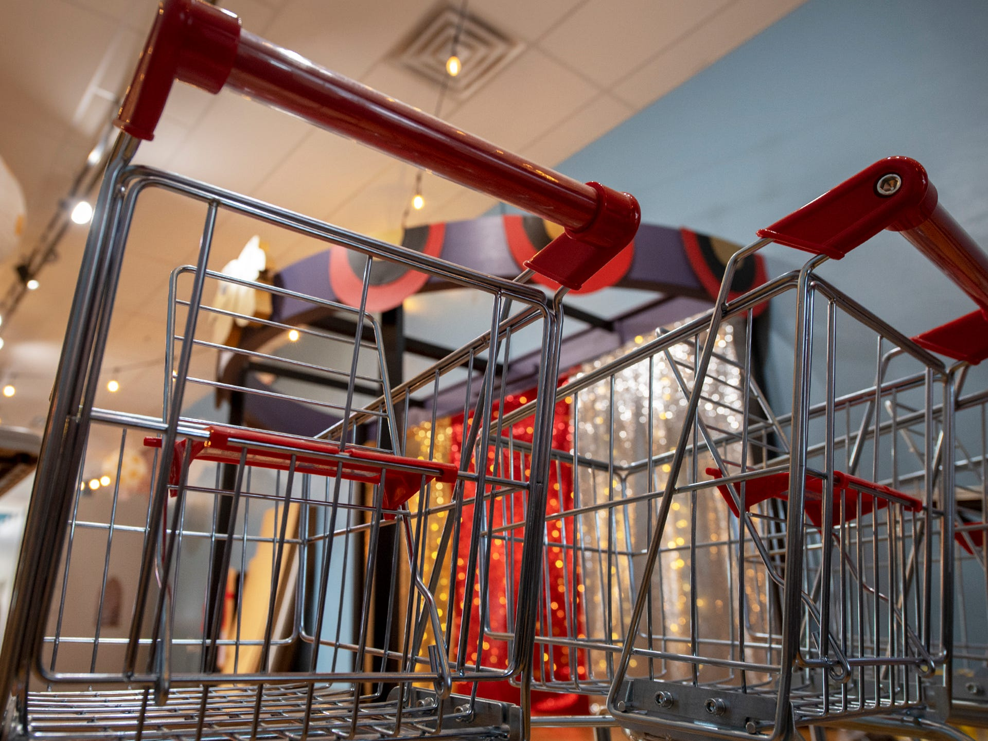 Tiny shopping carts will be part of the Mini Market, an interactive play area at the Curious Little Playhouse.