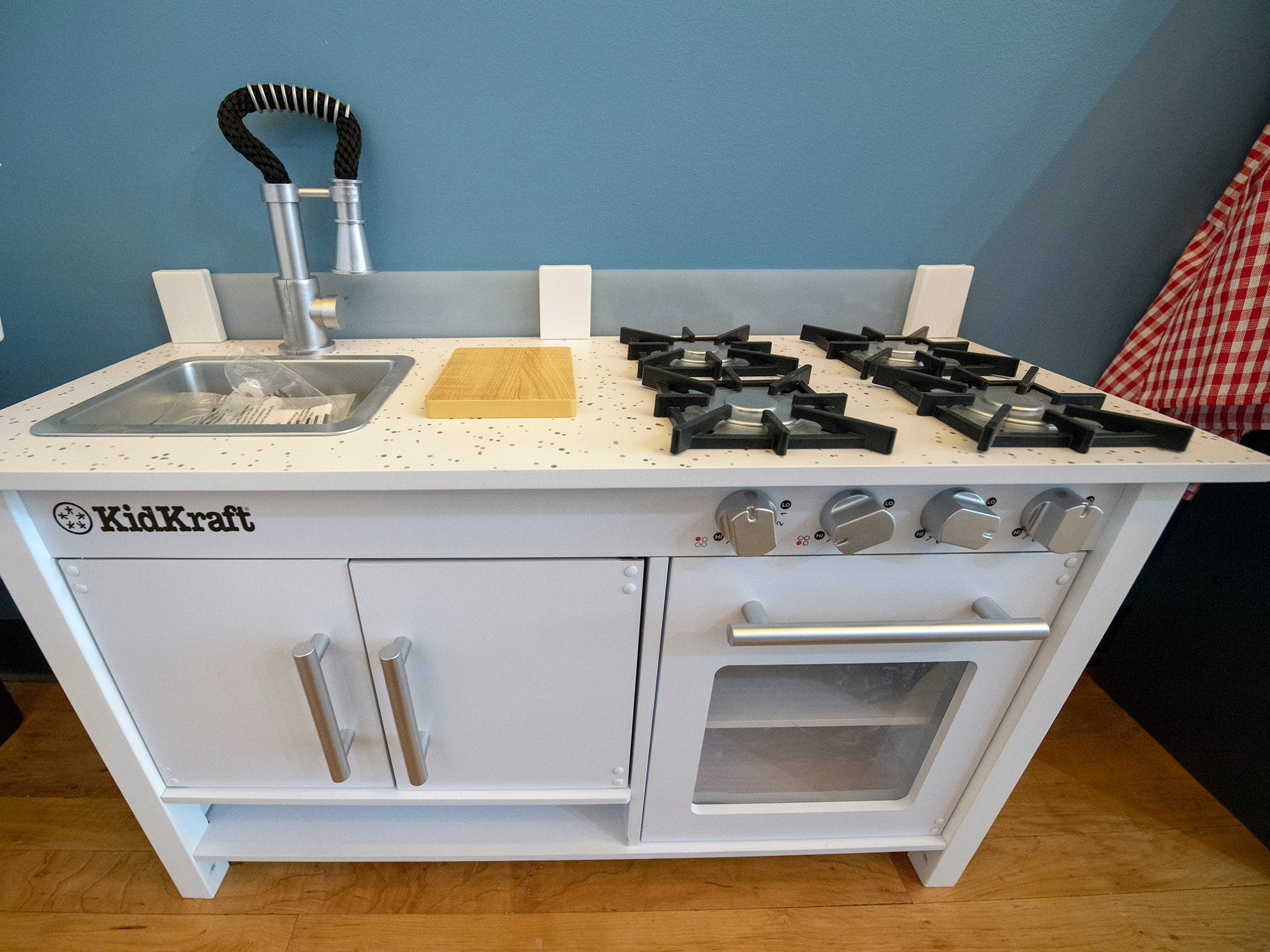 A kitchen ready for play at The Diner, one of the interactive stations for children at The Curious Little Playhouse.