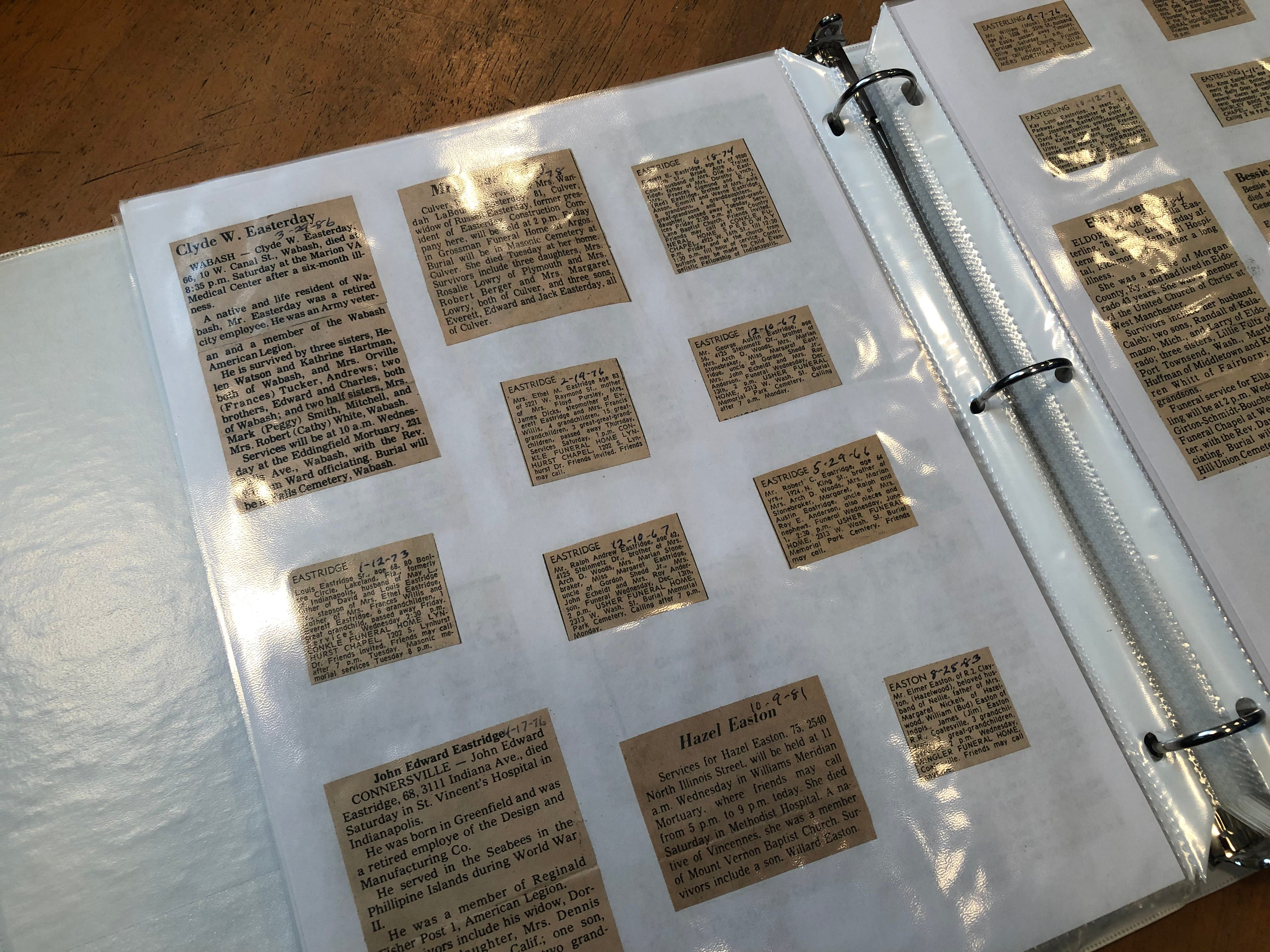 Among the items available for public use at the Wayne County Genealogical Society are scrapbooks filled with obituaries.