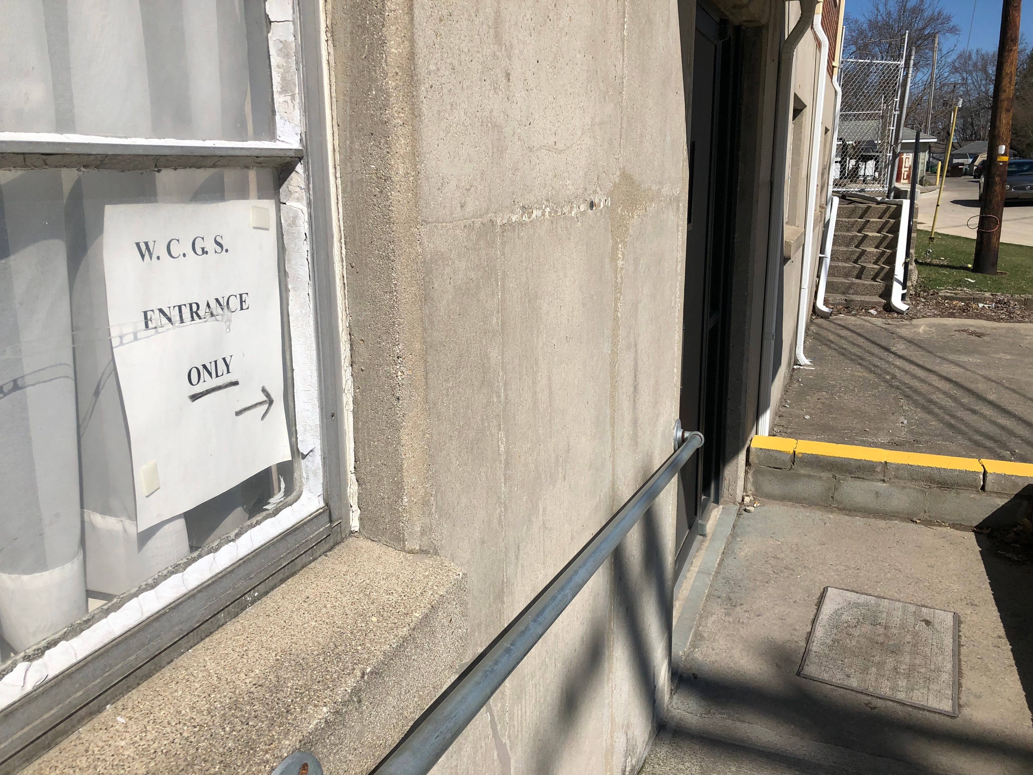 The entrance to the office of the Wayne County Genealogical Society is a bit hidden behind St. John Lutheran Church at the corner of South E and Seventh streets in Richmond.