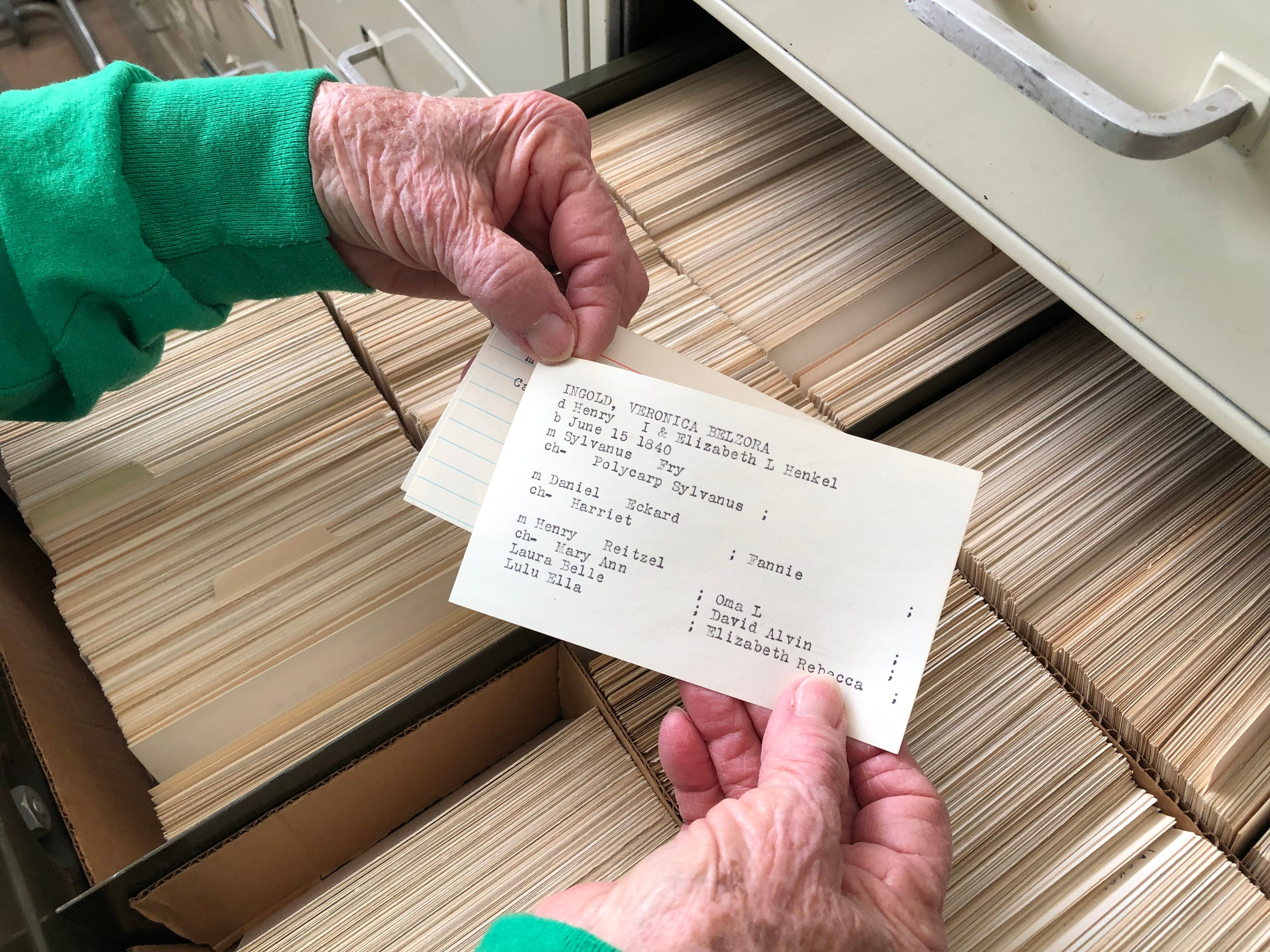 The George Heavilin Genealogical Card Collection includes birth, death and other information for the years 1972-1984.