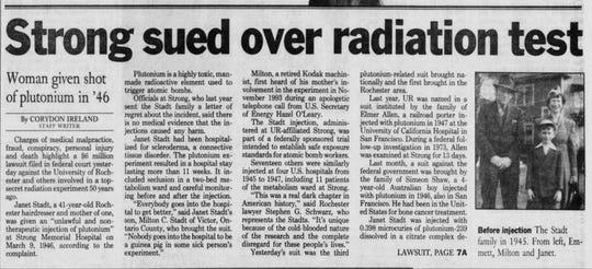 Headline in the March 4, 1994 Democrat and Chronicle regarding plutonium testing.