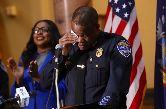 Newly appointed Rochester Police Chief La'Ron Singletary gets emotional after Mayor Lovely Warren announces she has appointed him to lead the department.