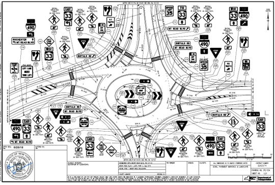 The proposed roundabout at the intersection of Mt. Read Boulevard and Buffalo Road. This image shows the location of all the signage. It won't be as confusing to drive through as it looks.