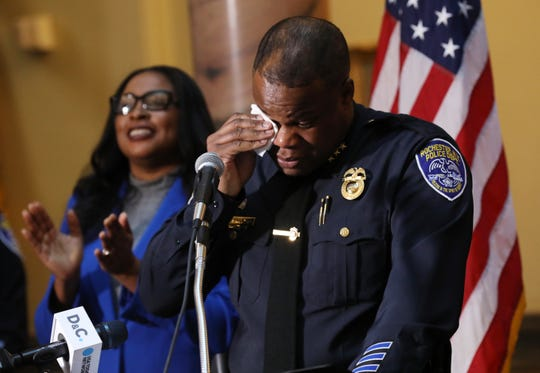 La'Ron Singletary tears up after Mayor Lovely Warren announced Singletary as the new Rochester Chief of Police in the file photo from April 9, 2019.