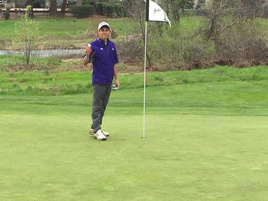 Shasta High golfer Dominic Hicks poses after shooting an eagle at Gold Hills Golf Club on Thursday, April 4.