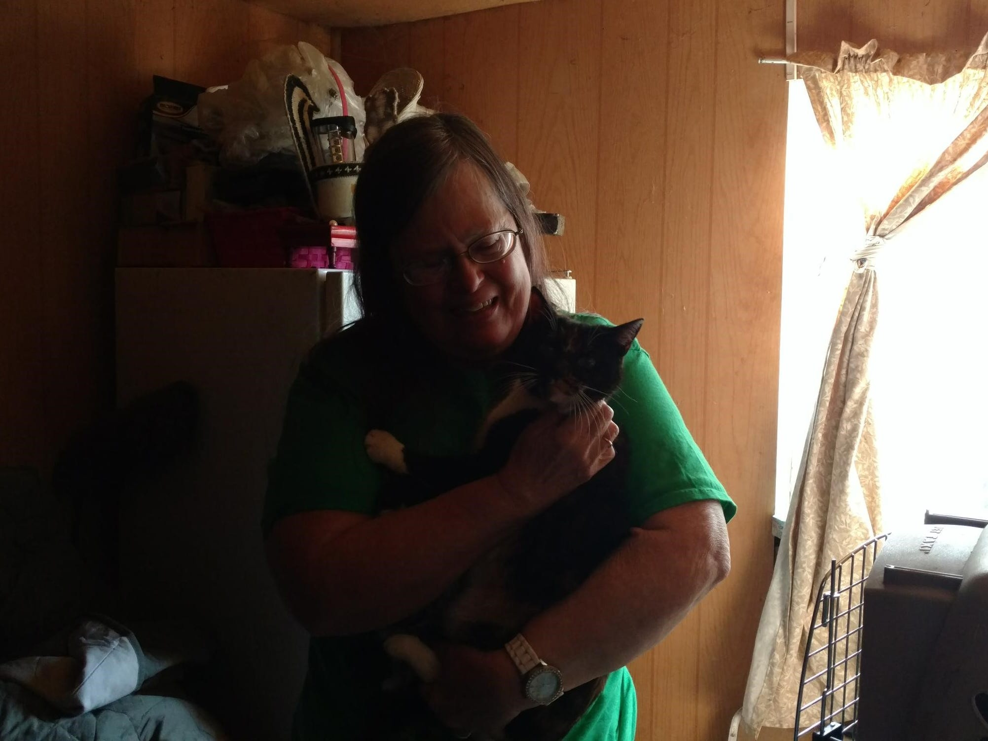 On March 16, eight months later,  Judy Henderson got a call from a volunteer with Carr Fire Pet Rescue and Reunification, a Facebook group and volunteer effort to help pets lost, and animals injured, during the fire.  They'd trapped Millie and were bringing her home.