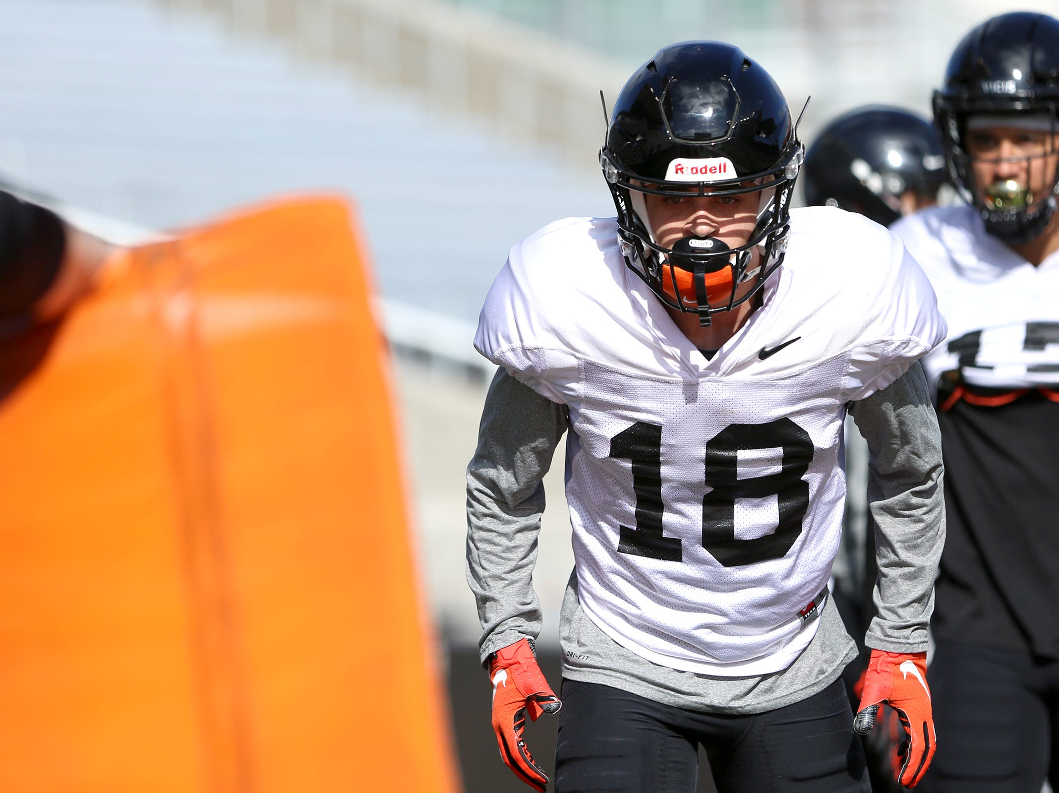 Oregon State University wide receiver Anthony Gould (18) runs drills during practice at Oregon State University in Corvallis on April 9, 2019.