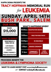 Willamette University's Kappa Sigma Fraternity is hosting the Tracy Hoffman Memorial Run at Bush's Pasture Park on April 14.