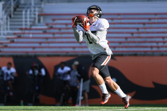 Oregon State University wide receiver Anthony Gould (18) catches a pass during practice at Oregon State University in Corvallis on April 9, 2019.