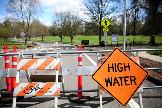 Wallace Marine Park is closed due to flooding in West Salem on April 9, 2019.