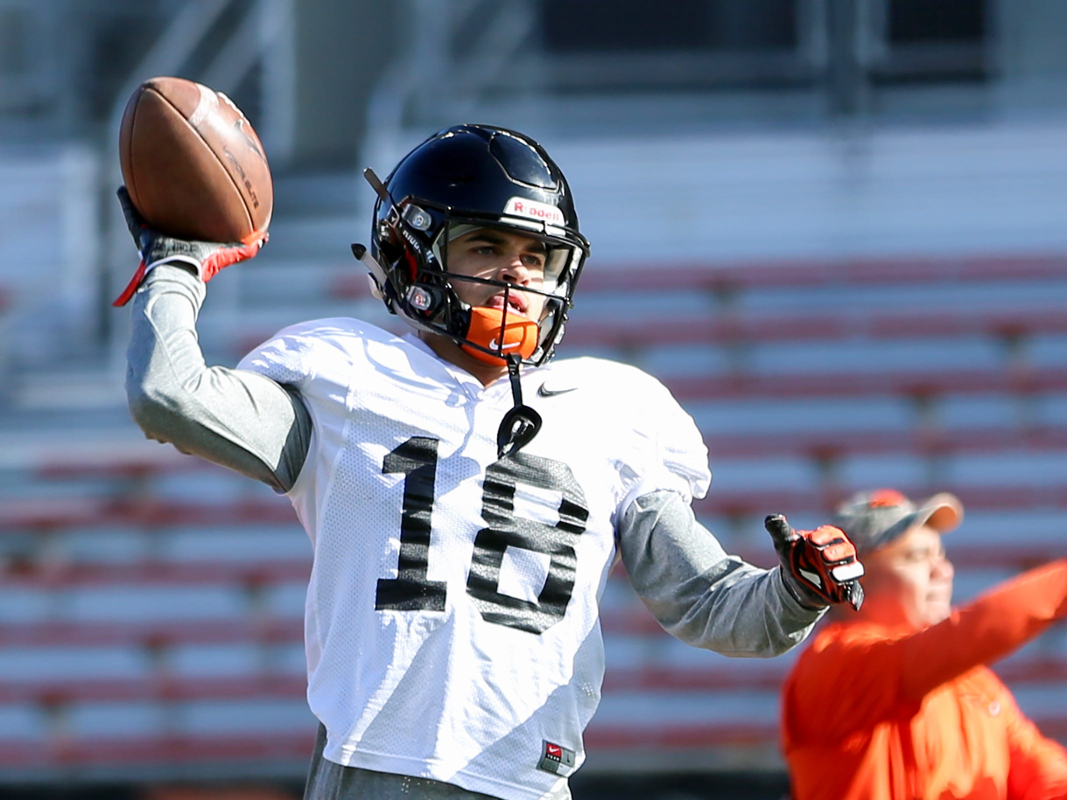 Oregon State University wide receiver Anthony Gould (18) practices at Oregon State University in Corvallis on April 9, 2019. Gould is a West Salem High School alumnus.